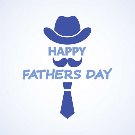 Happy fathers day. Hat and tie greeting card. Vector illustration. Happy Father's Day Bowler hat and mustache