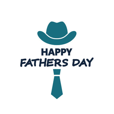 Happy fathers day. Hat and tie greeting card. Vector illustration. Happy Father's Day Bowler hat,