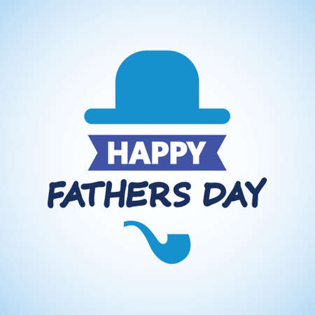 Happy fathers day. Hat and smoking pipe greeting card. Vector illustration. Happy Father's Day Bowler hat 矢量图像
