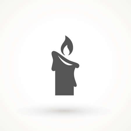 Burning candle icon isolated. candle light burn wax black icon on white background