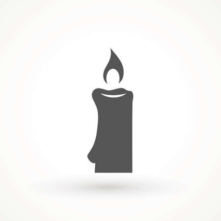 Burning candle icon isolated. candle light burn wax black icon on white background