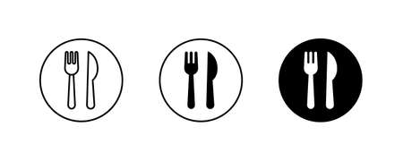 fork and knife icons button, vector, sign, symbol, logo, illustration, editable stroke, flat design style isolated on white linear pictogram Vectores