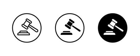 auction Law, lawyer button, vector, sign, symbol, logo, illustration, editable stroke, flat design style isolated on white linear pictogram Vectores