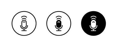 Microphone line icon, mic outline, Voice, Record. recording, Studio icons button, vector, sign, symbol, logo, illustration, editable stroke, flat design style isolated on white linear pictogram