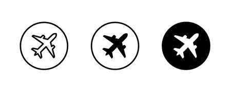 Plane, aircraft, Airplane travel, air plane flight icons button, vector, sign, symbol, logo, illustration, editable stroke, flat design style isolated on white linear pictogram