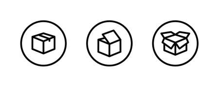 Box icon. Package, delivery boxes, cargo distribution, export, return parcel. Shipment of goods, open package, Open Box, recycled, Contains such priority shipping, express order tracking, crate icons