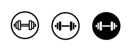 Dumbbell, Weights, barbell, Sports gym, bodybuilding icons button, vector, sign, symbol, logo, illustration, editable stroke, flat design style isolated on white linear pictogram Vectores