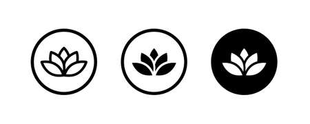 lotus flowers, Lotus, Lily Flower Icon. Spa icons button, vector, sign, symbol, logo, illustration, editable stroke, flat design style isolated on white linear pictogram Vectores