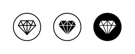 Diamond icon. Gemstone, brilliant. Banking, Jewelry, Gem stone icons button, vector, sign, symbol, logo, illustration, editable stroke, flat design style isolated on white linear pictogram