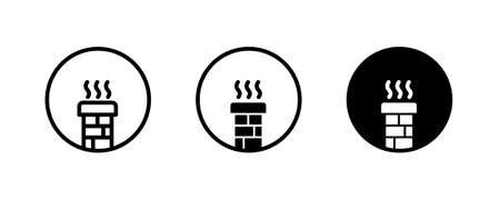 Chimney icon, Brick chimney icons button, vector, sign, symbol, logo, illustration, editable stroke, flat design style isolated on white linear pictogram
