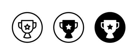 Cup trophy icon, Champions trophy icon vector illustration. First place award badge. Victory symbol.