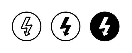 High voltage attention icon. Electric danger symbol. Flat Vector illustration. attention sign with exclamation mark icon. risk, danger, safety warning,banner,caution