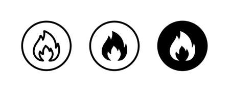 Fire flame icon vector template. Hot caution or spicy food. Vector logo symbol for oil, gas and energy concept flat design