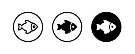 Fish icon. Fish logo template. Creative vector symbol of fishing club or online shop.