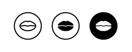 Lips line Icon in trendy flat style isolated on white background. Mouth symbol for your web site design, logo, app, UI. Vector illustration, Vectores
