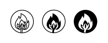 Forest Fire icon, Uncontrolled fire flame in huge area covered with trees. Damaging large ecosystems. Air pollution icons button, vector, sign, symbol, logo, illustration, editable stroke Vectores