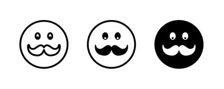 mushtache smile, icons button