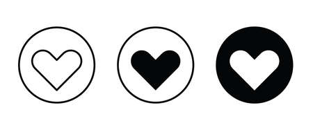 Heart Icon set. Love Like icons. Valentines Day sign, emblem isolated on white background. Editable and Flat style symbol for graphic and web design, pictogram Vector