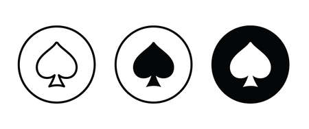 Spades Ace Playing Card vector icon button flat design style isolated on white linear pictogram