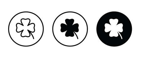 four leaf clover icon, St Patricks day icons button, vector, sign, symbol, logo, illustration, editable stroke, flat design style isolated on white linear pictogram