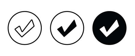 Tick icon. check mark icons button, vector, sign, symbol, logo, illustration, editable stroke, flat design style isolated on white linear pictogram