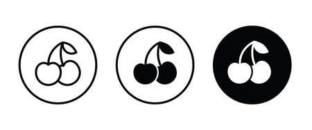 cherries icon, Cherry fruit icons button, vector, sign, symbol, logo, illustration, editable stroke, flat design style isolated on white linear pictogram Ilustração