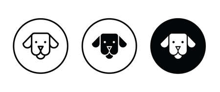 Dog head icon, dog icons button, vector, sign, symbol, logo, illustration, editable stroke, flat design style isolated on white linear pictogram