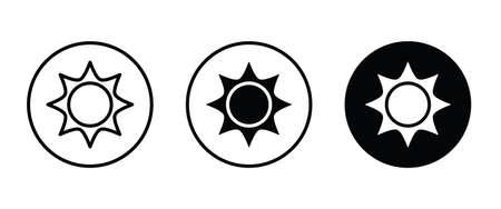 Brightness Icon, Intensity Setting Vector. Sun with rays icon Ilustração