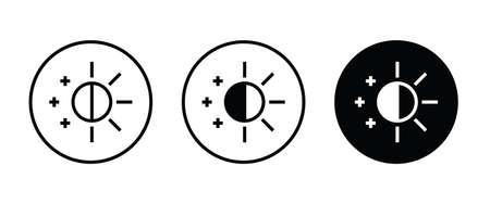 Brightness icon, sun moon icon vector illustration