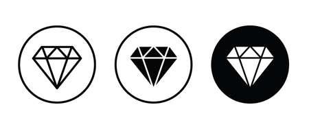 Diamond icon. Gemstone, brilliant Banking, Jewelry, Gem stone icons button, vector, sign, symbol, logo, illustration, editable stroke, flat design style isolated on white linear pictogram Ilustração