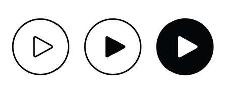 Play button vector icon. Video play icon Ilustração
