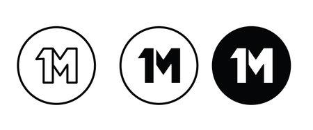 1 million or one million followers design concept, 1m, marketing, media, social icon editable stroke