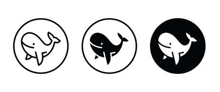 Whale flat icon. Balina symbol. Ocean fish sign