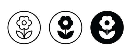 flower icons button, vector, sign, symbol, logo, illustration, editable stroke, flat design style isolated on white