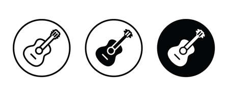 acoustic guitar vector icon. classic, instrument, musical, rock, sound, acoustic, string, play, electric, concert, song, musician, guitarist