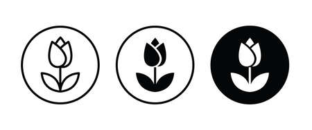 tulip icon vector, simple flower icons button, vector, sign, symbol, logo, illustration, editable stroke, flat design style isolated on white