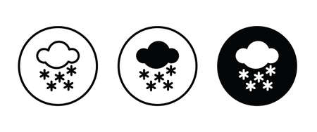Weather icons set with heavy Snowing , winter, snowfall and other temperature elements. Blizzard Isolated vector illustration Ilustração