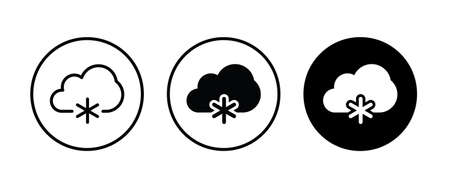 Weather icons set with Snowing , winter, snowfall. Isolated vector illustration
