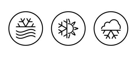 Weather icons set with Snowing , winter, snowfall and other temperature elements. Blizzard Isolated vector illustration