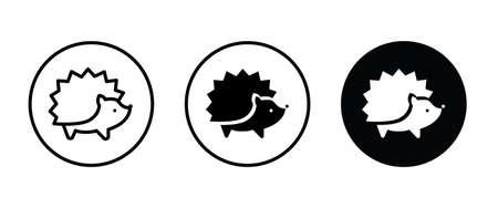 hedgehog icon button, vector, sign, symbol, logo, illustration, editable stroke, flat design style isolated on white Ilustração