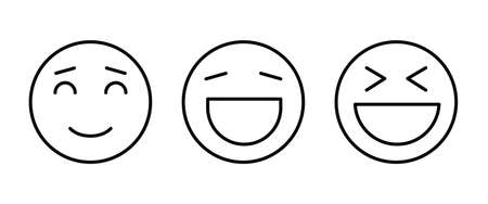 Happy Laugh Smile, smiling, funny icon button, vector, sign, symbol, logo, illustration, editable stroke, flat design style isolated on white
