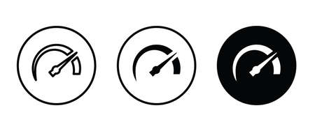 Speedometer, tachometer icon. Speed indicator sign. car speed. Performance Speed metering, scale icon button, vector, sign, symbol, logo, illustration, editable stroke, flat design style isolated on white