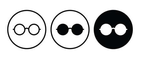 Round Glasses icon, Eyeglasses button, vector, sign, symbol, logo, illustration, editable stroke, flat design style isolated on white
