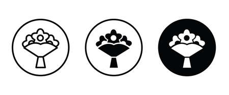 Bouquet, flower, love icon. wedding icon button, vector, sign, symbol, logo, illustration, editable stroke, flat design style isolated on white Ilustração