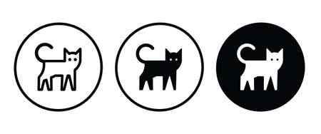 Walking Cat icon, House animals icon button, vector, sign, symbol, logo, illustration, editable stroke, flat design style isolated on white Ilustração