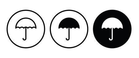 Open umbrella icon. protection. security icon button, vector, sign, symbol, logo, illustration, editable stroke, flat design style isolated on white