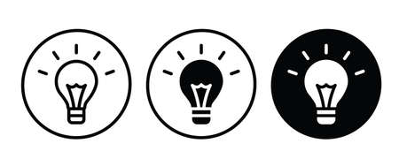 Light Bulb icon vector set, isolated on white background. Idea sign, solution, thinking concept. Lighting Electric lamp. Electricity, shine.