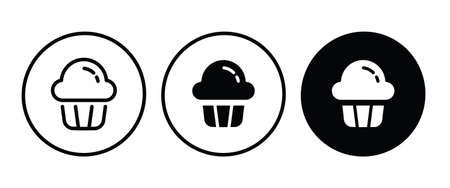 cream cupcake muffin icon illustration confectionery bakery pastry icon sign on isolated background Sweet food symbol