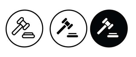 auction web icon, Judge Gavel or Hammer judge Illustration