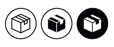 Box icon. Package, delivery boxes, cargo distribution, export, return parcel.  Icon or button illustration Illustration